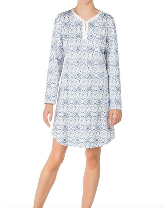 Calida Women sleepshirt, 36604, Blå mønstret