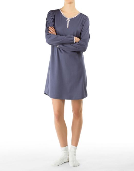 Calida sett med Nattskjorte og sokker i 100 myk bomull, Blå